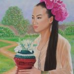 Girl holding a flower stand