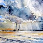 2 Boats – Miniature watercolour – framed