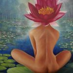 A wisdom upon the water lily pond