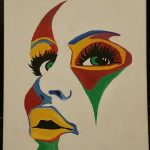 Colorful face oil painting on canvas
