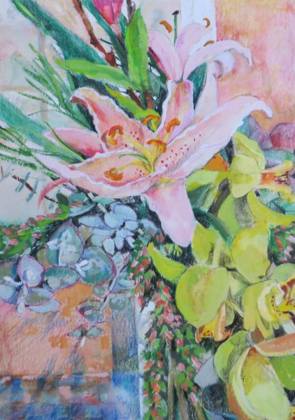 pink-lilly-with-orchids