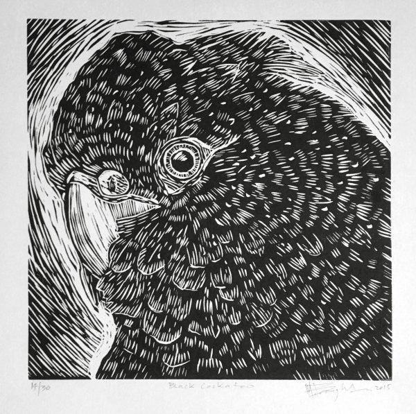 Black Cockatoo Lino Print Crop