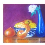 Blue vase and fruit bowl
