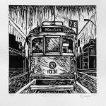 Melbourne Tram lino cut print