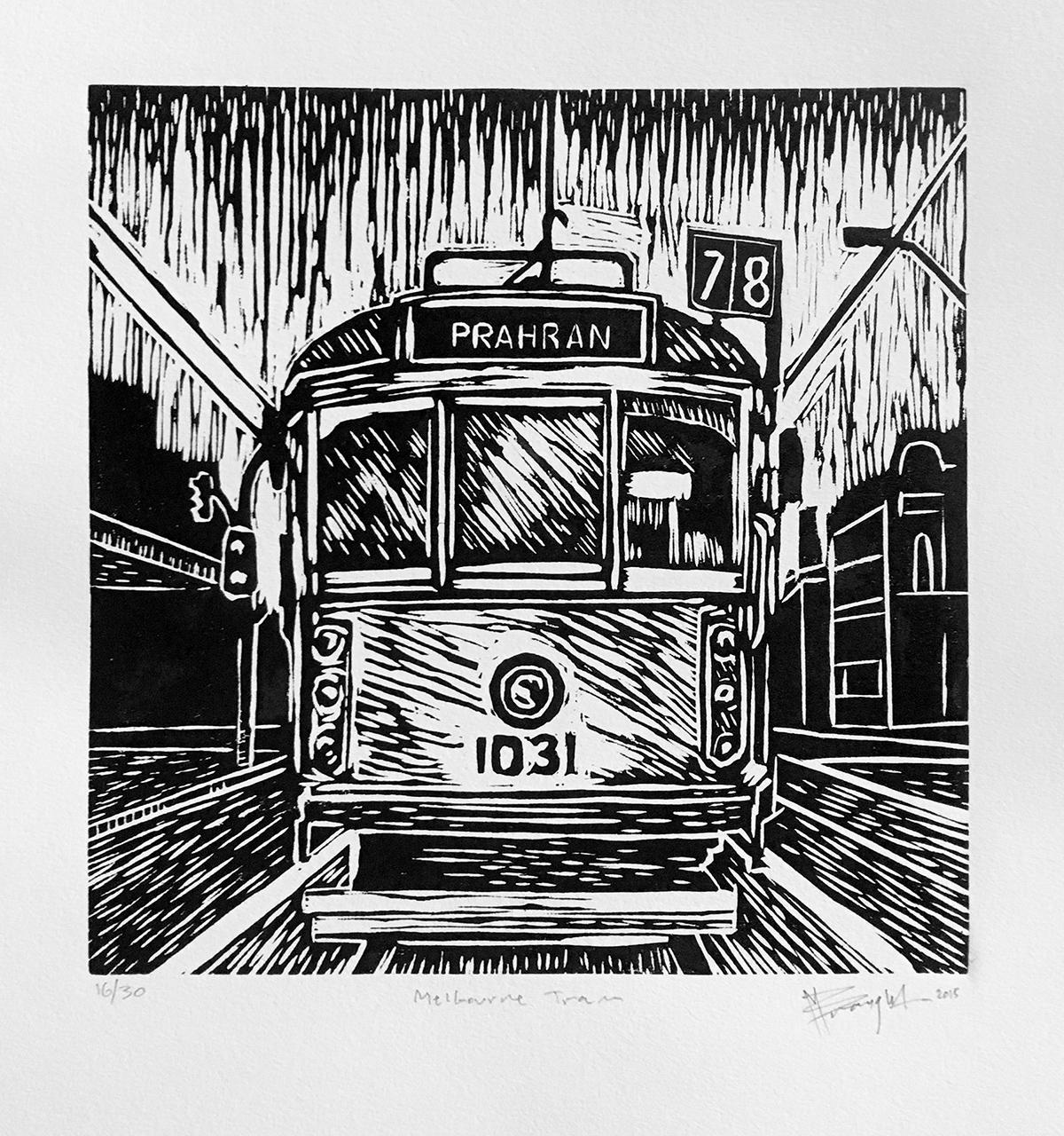Melbourne Tram Lino Cut Web