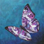 Chrysanthemum Rain – original acrylic butterfly painting