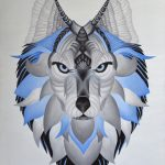 Abstract Guardian Wolf Painting