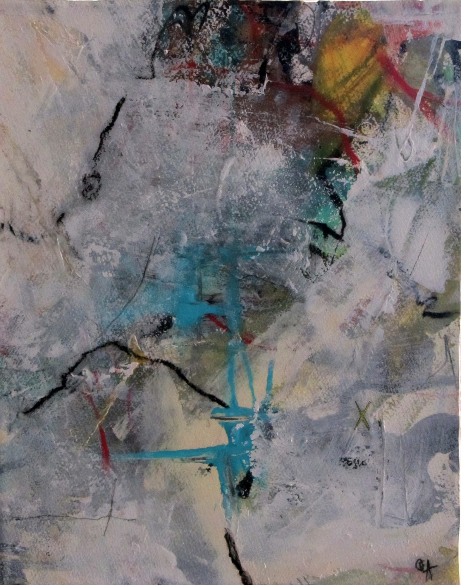 Original, mixed media abstract painting.