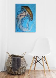 Small Jellyfish Painting On Wall By Naomi Veitch Copy