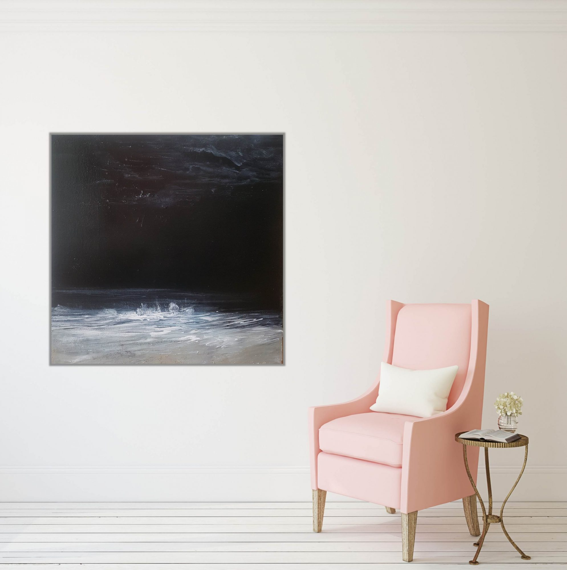 night-beach-with-pink-chair