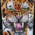Really Angry Tiger green eye Richmond Tiger Air Brush