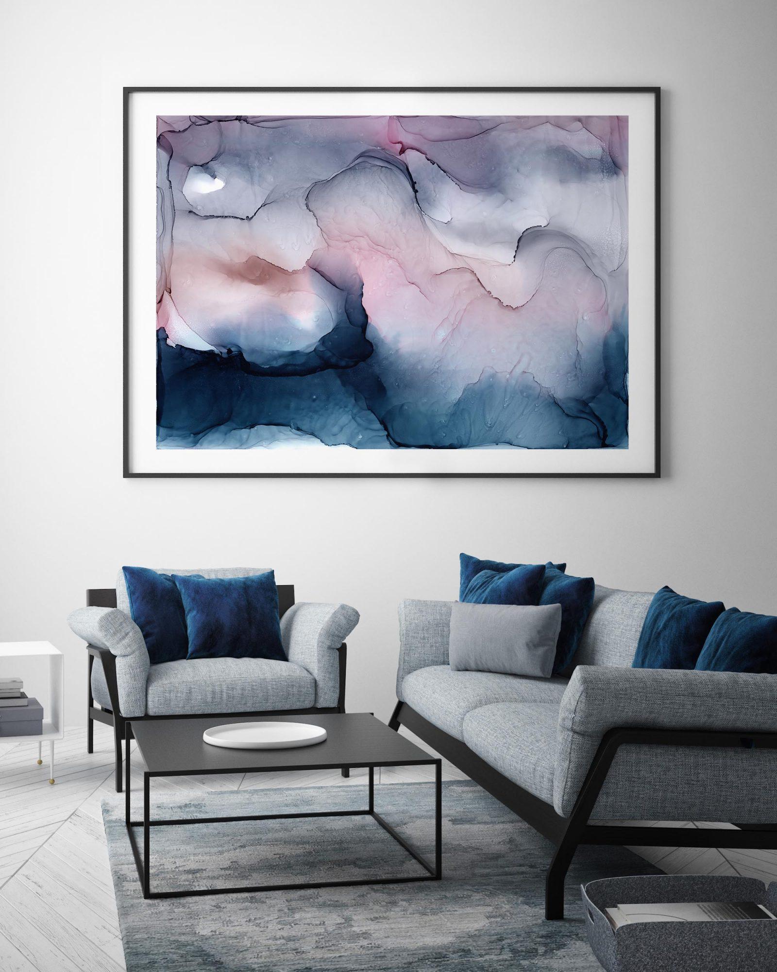 mock up poster frame in hipster interior background with indigo velvet details, scandinavian style, 3D render