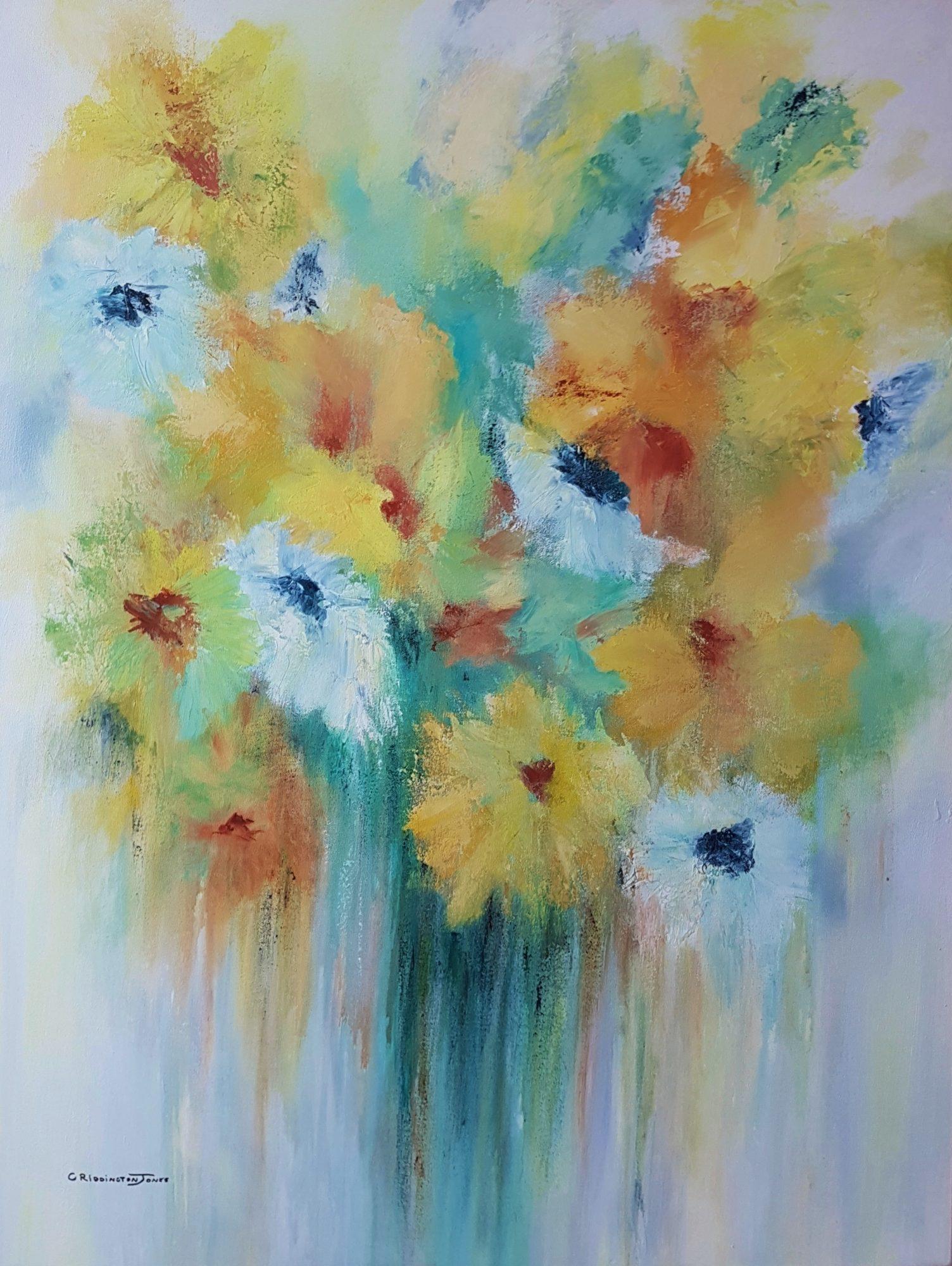 A Gathering of Blooms, 76cm x 1M, Clare Riddington Jones