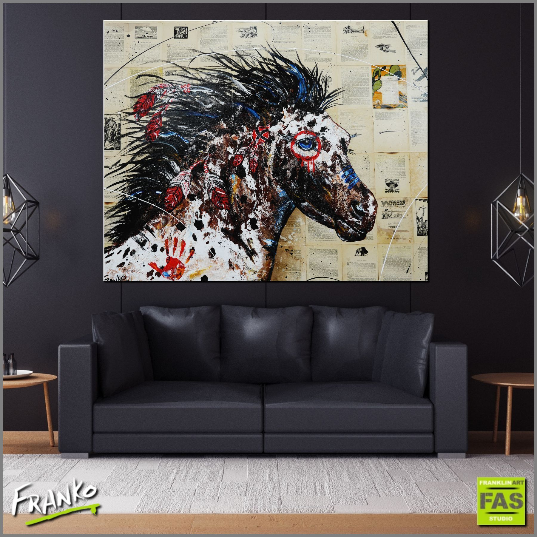 ahiga-war-horse-120cm-x-150cm-indian-war-horse-vintage-book-pop-art-painting-franklin-art-studio-franko-g