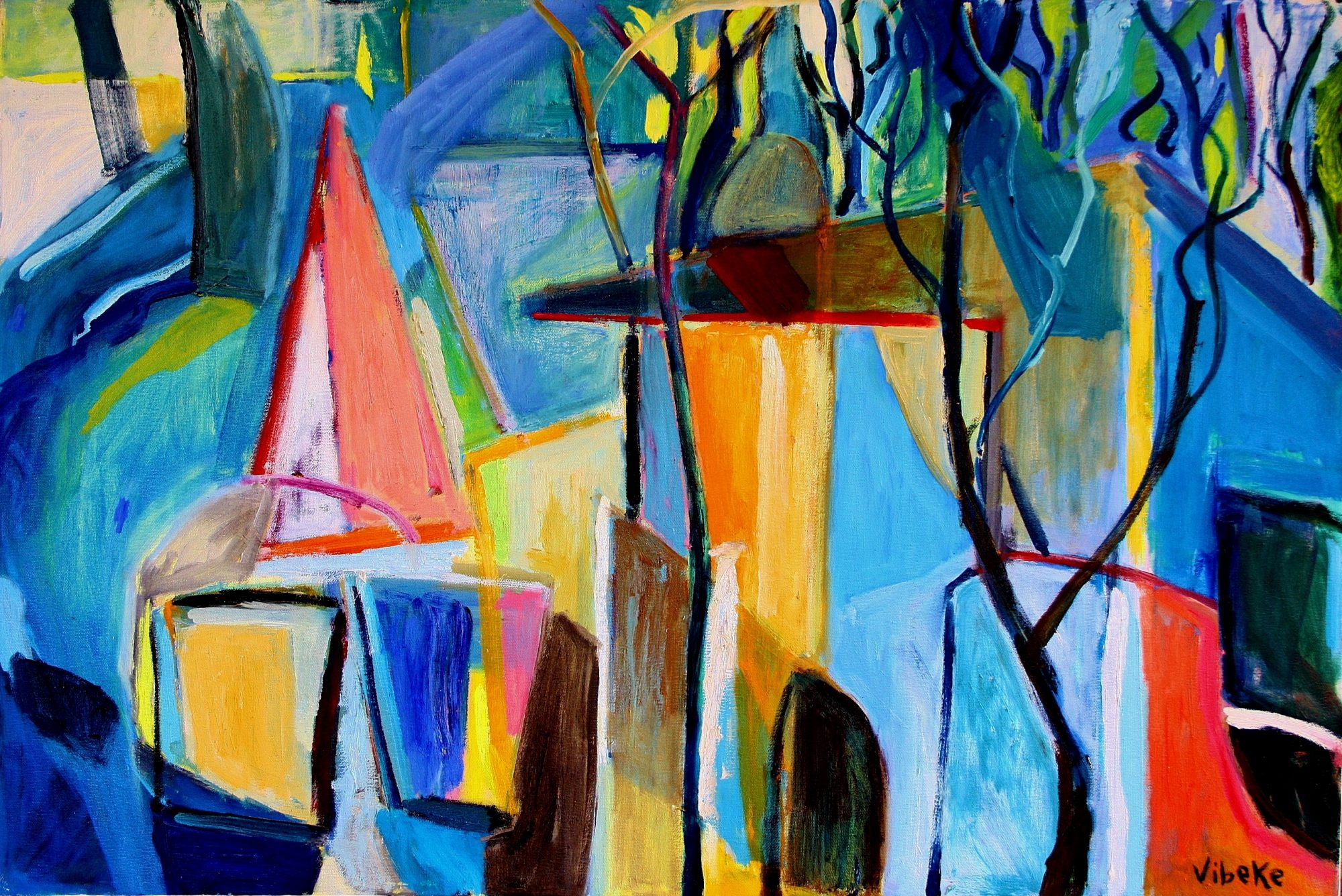 Abstract landscape 90x60cm (2)