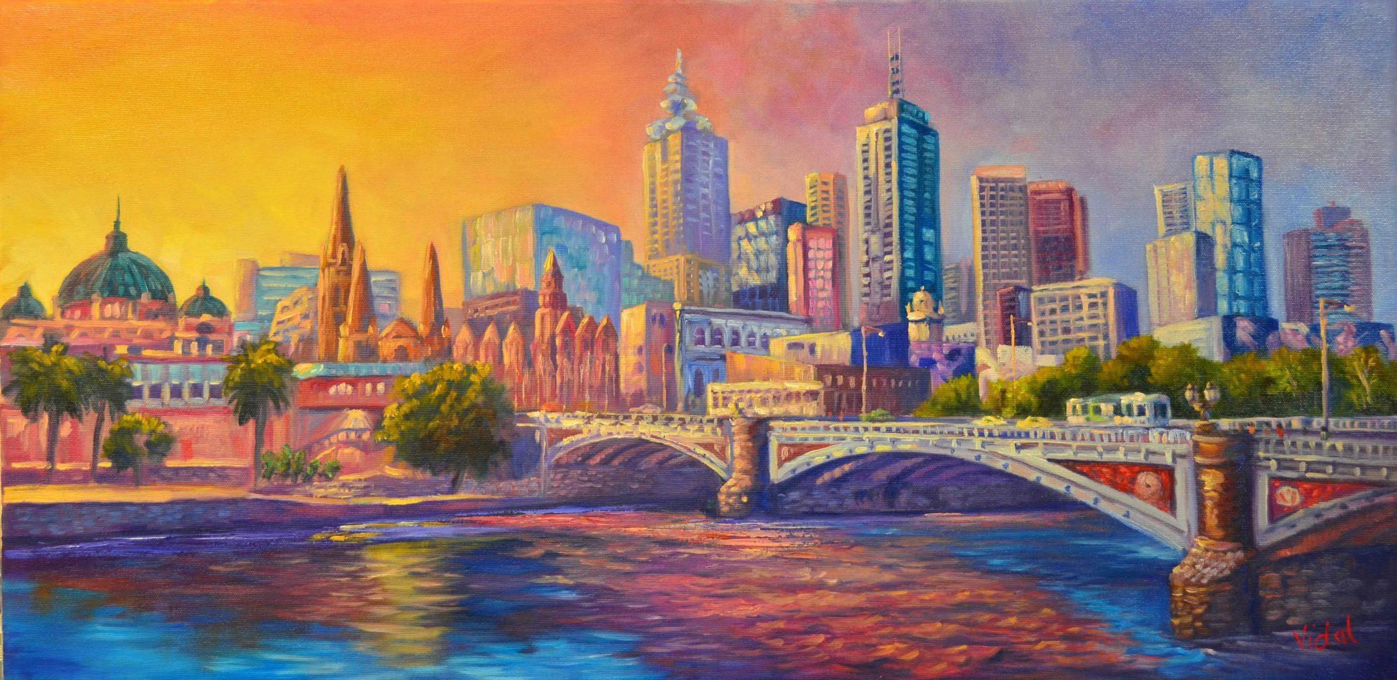 City of Melbourne oil painting Chris Vidal