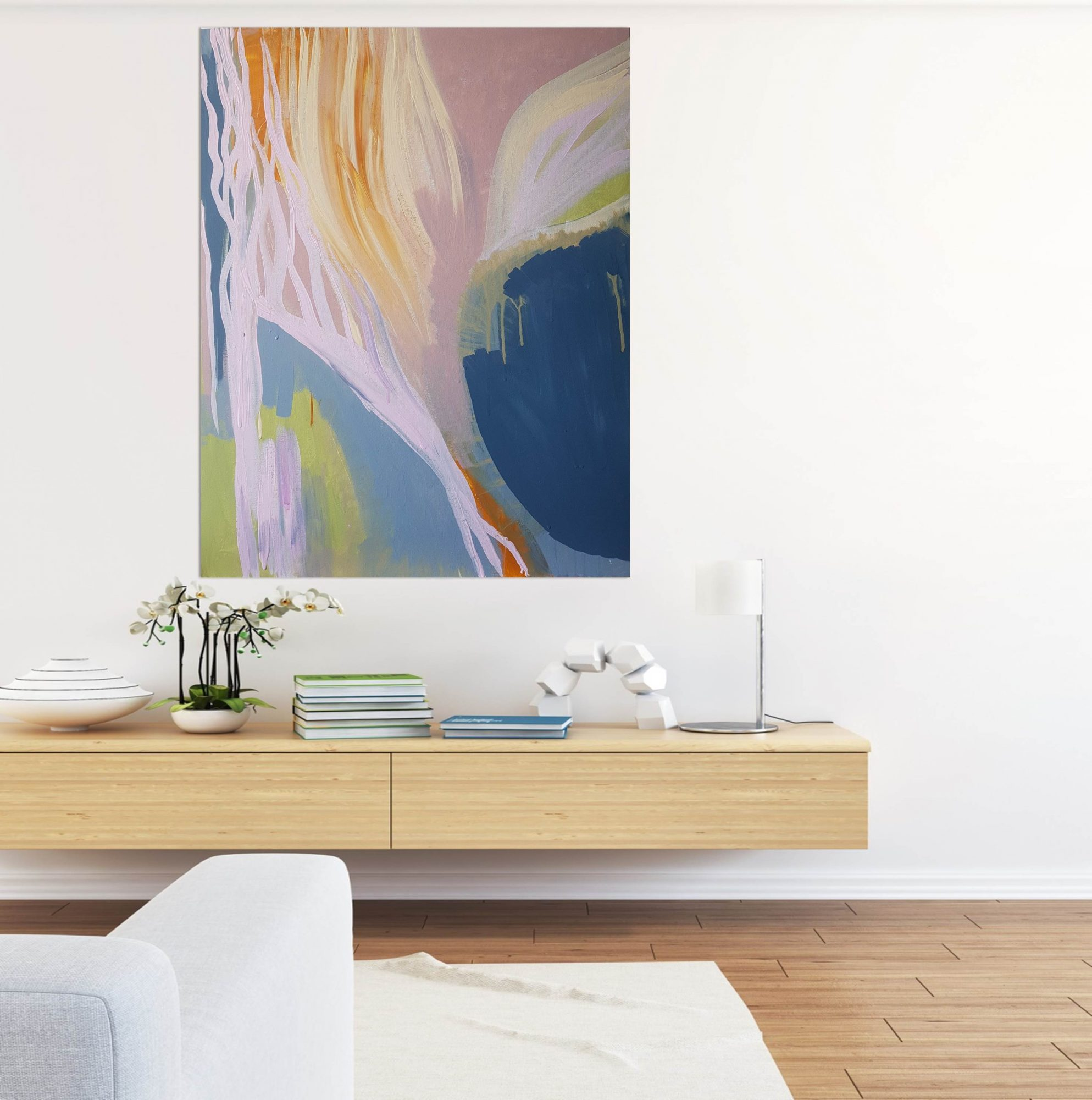 In Bloom modern wood bench white lounge