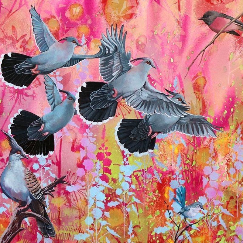 Taking Flight Crested Pigeons.web