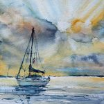 Boat. Sunrise. – original seascape painting