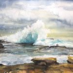 """Clouds & Waves"" – seascape watercolour painting"