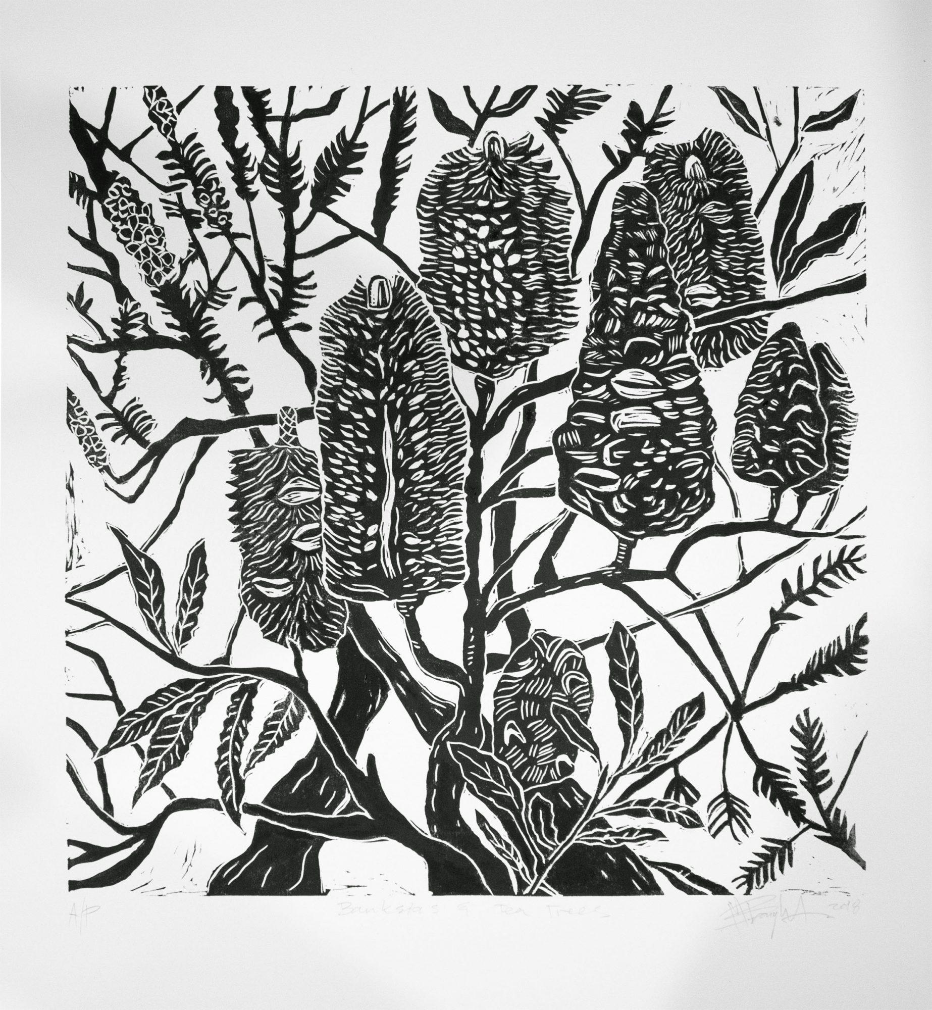 Banksia and tea-tree linocut print_