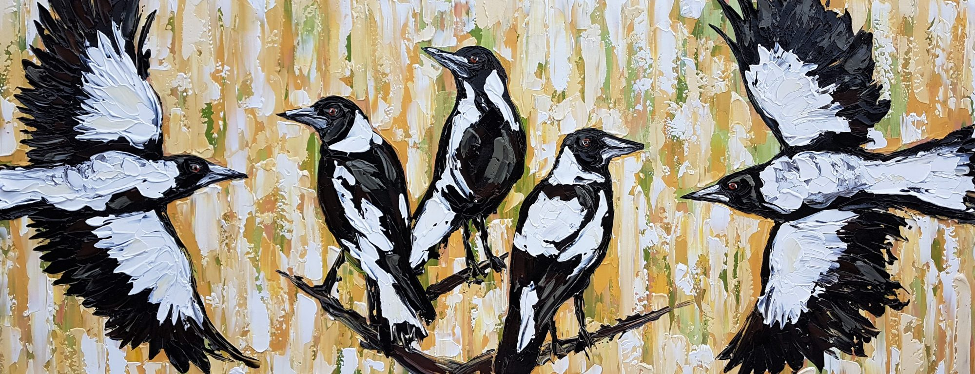 Charm of Magpies in the grass Lisa Fahey