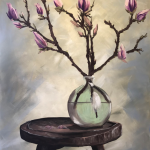 Magnolias in a green vase