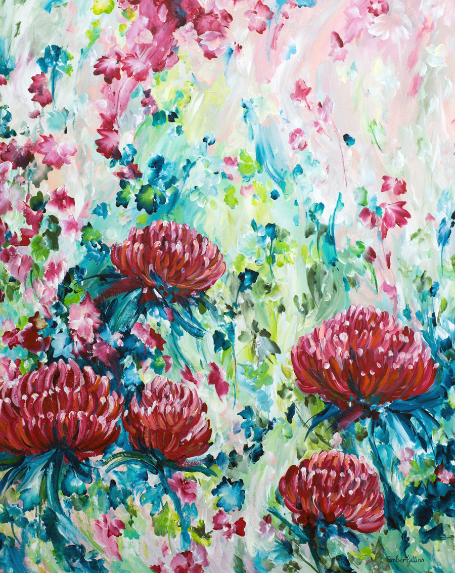 Australian-Waratah-landscape-abstract-painting-by-Australian-artist-Amber-Gittins