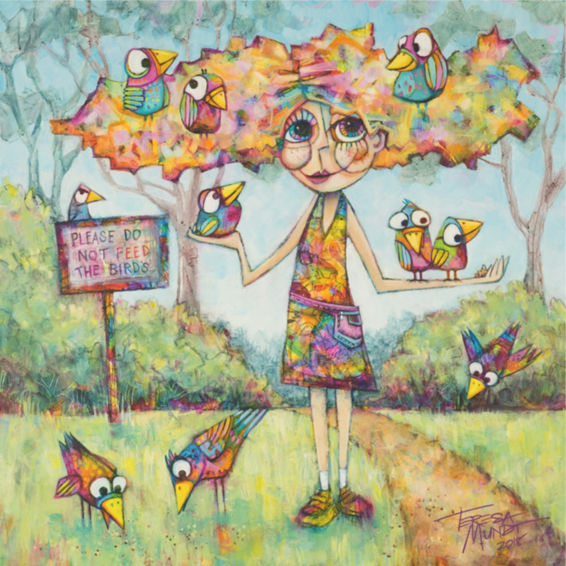 Bird Hair Day By Teresa Mundt Colorful Colourful Bird Girl Contemporary Art Painting