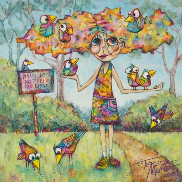 Bird Hair Day by Teresa Mundt_colorful_colourful_bird_girl_contemporary_art_painting