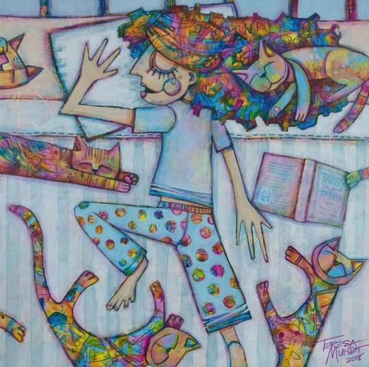 Catnap by Teresa Mundt_colourful_colorful_cat_lady_quirky_art_painting