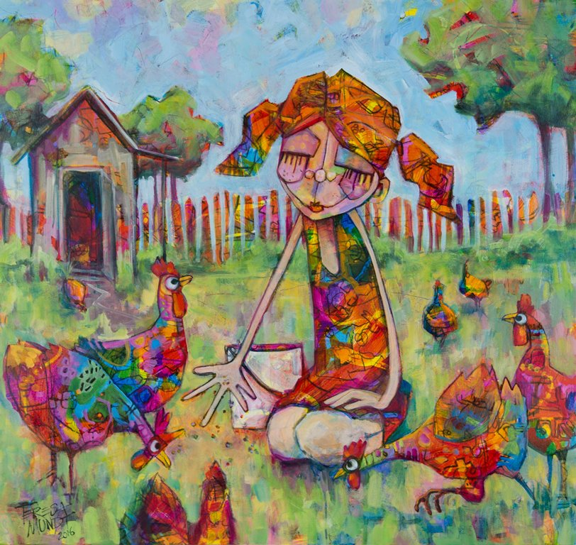 Cheeky Chickens by Teresa Mundt_colourful_colorful_chook_girl_painting