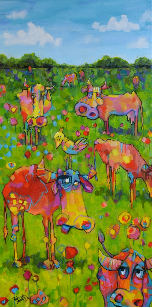 Cows are in the Meadows by Teresa Mundt_colourful_colorful_cartoon_cow_landscape_painting