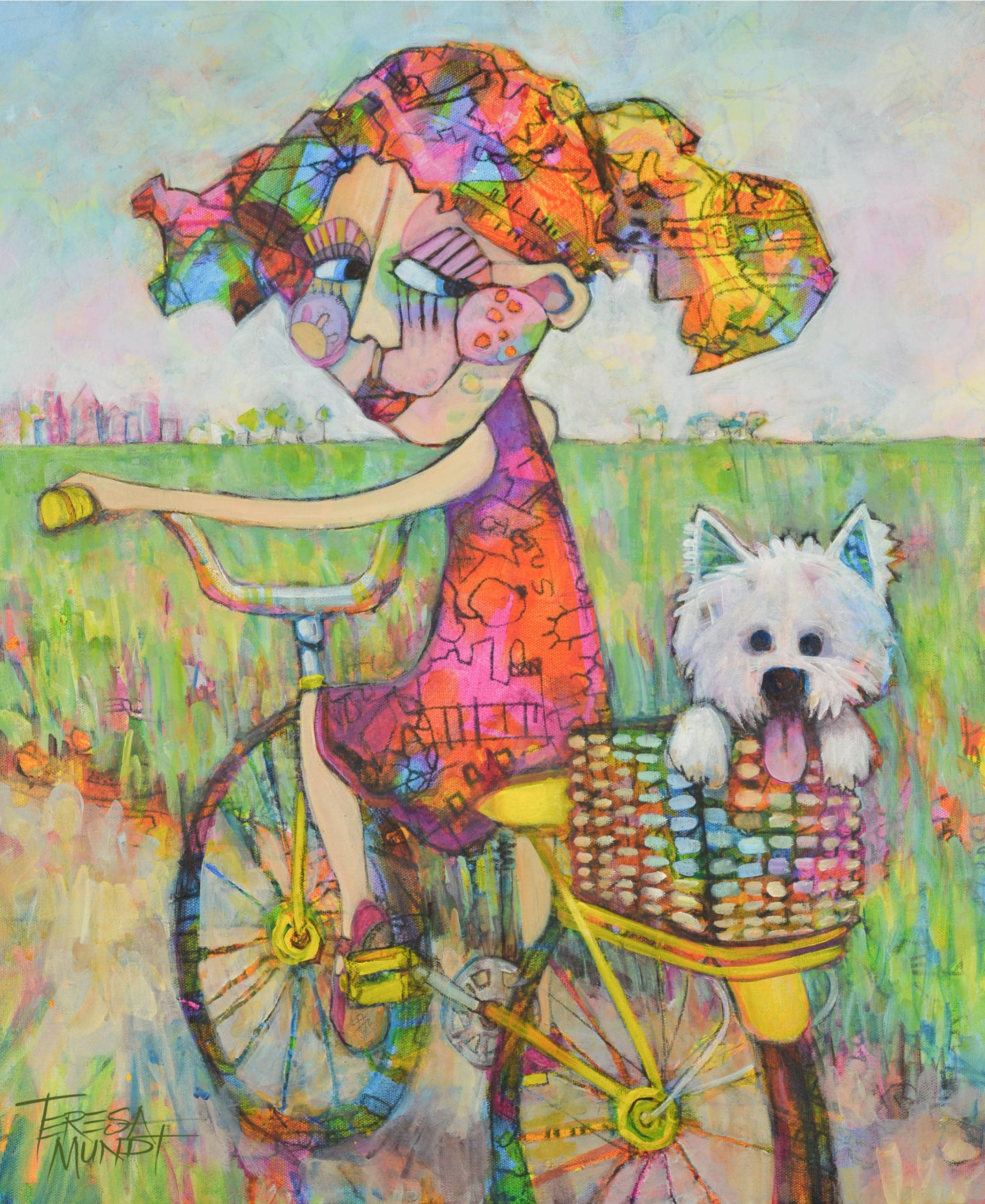 Driving Miss Daisy By Teresa Mundt Colourful Colorful Girl Dog Puppy Bike Bicycle Landscape Painting