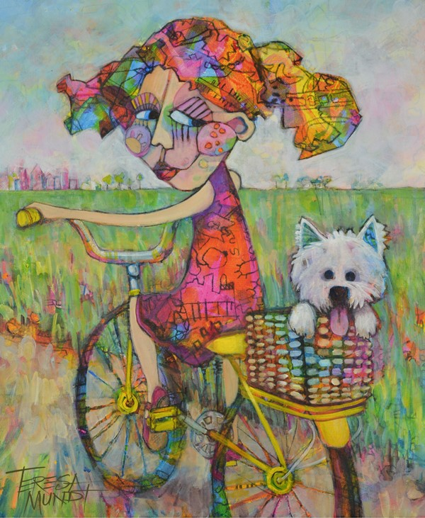 Driving Miss Daisy by Teresa Mundt_colourful_colorful_girl_dog_puppy_bike_bicycle_landscape_painting