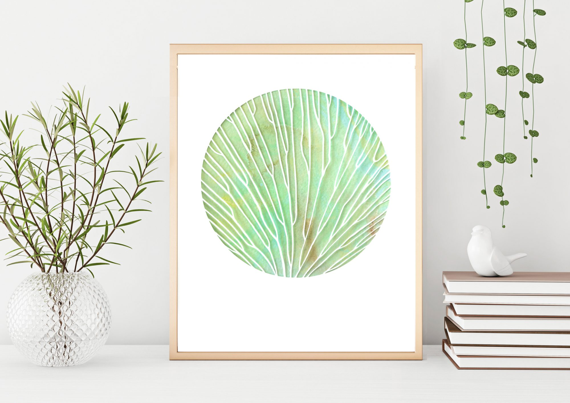 Interior poster mock up with vertical metal frame and plants in