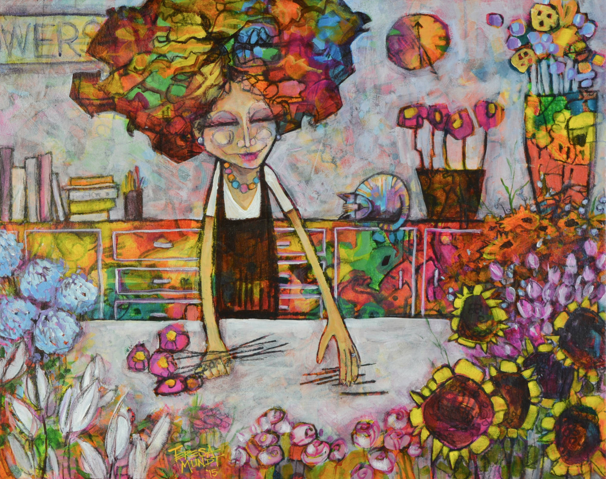 Florist's Apprentice By Teresa Mundt Colourful Colorful Abstract Floral Florist Cat Flower Painting