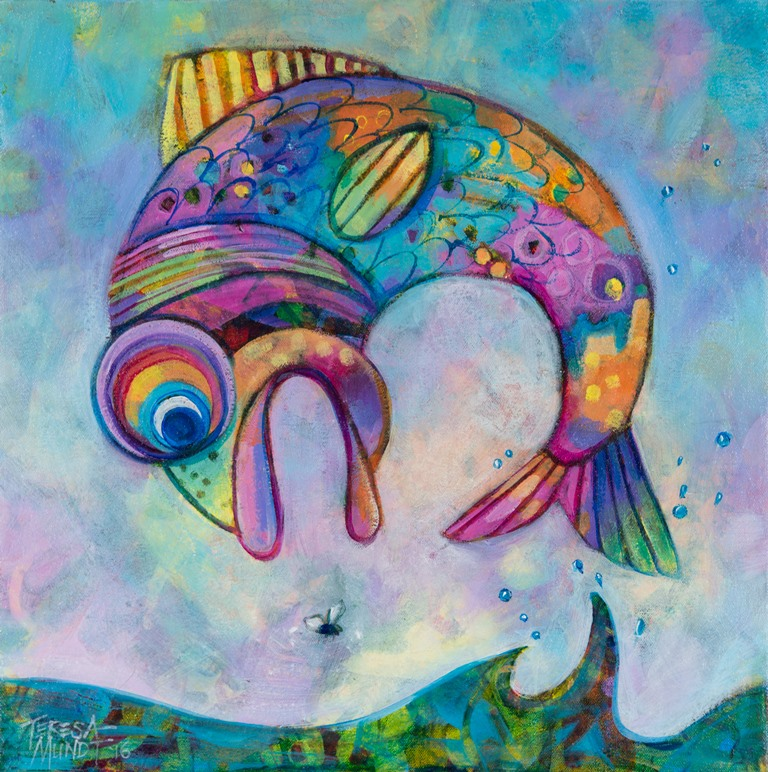 Fly Fishing by Teresa Mundt_colourful_colorful_cartoon_fish_painting