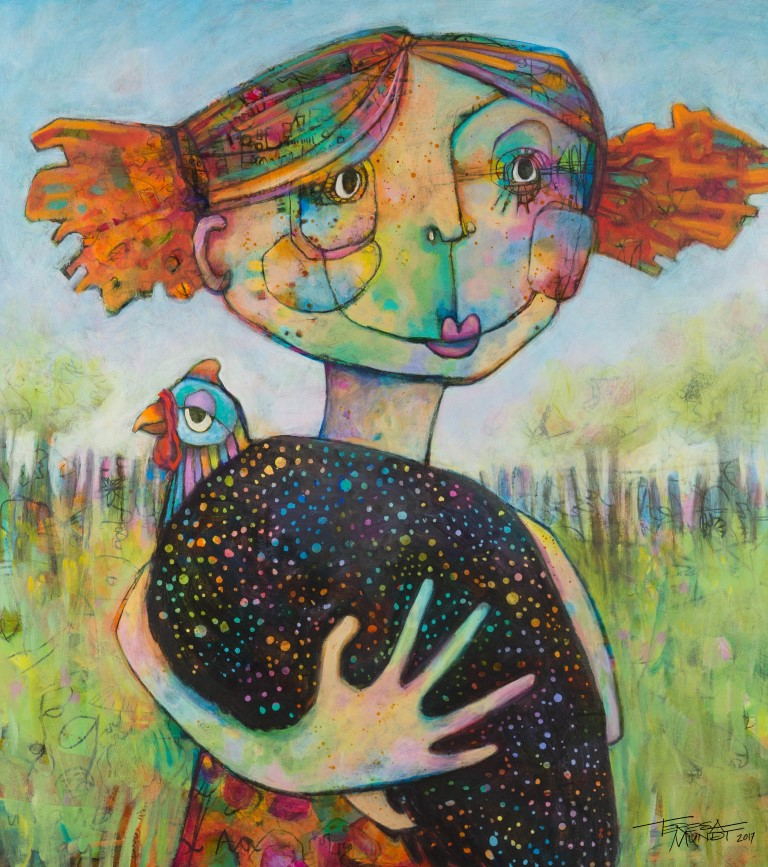 Girl & Guinea Fowl by Teresa Mundt_colourful_colorful_contemporary_art_painting