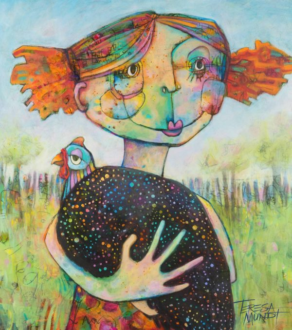Girl & Guinea Fowl By Teresa Mundt Colourful Colorful Contemporary Quirky Art Painting