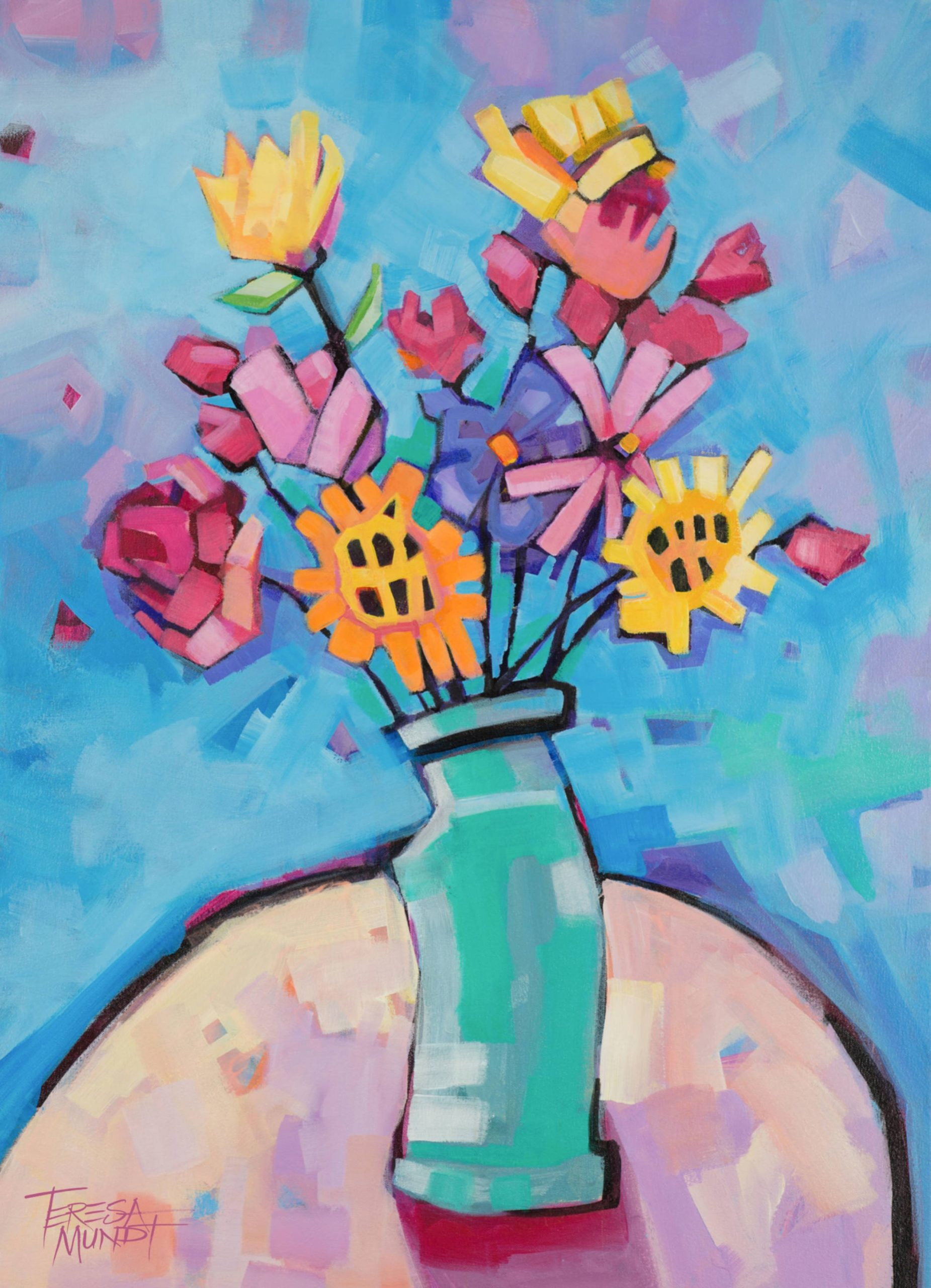Green Vase By Teresa Mundt Colourful Colorful Floral Still Life Flowers Art Painting