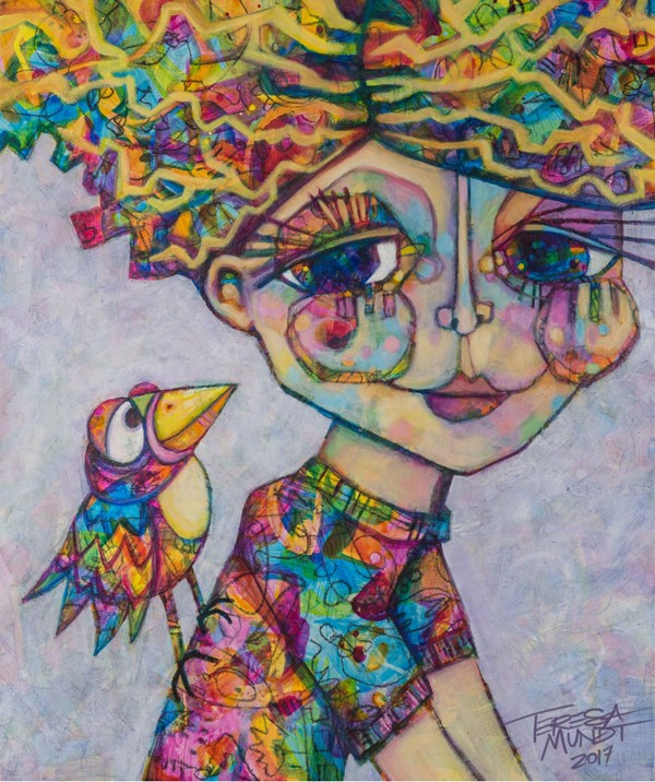 Hitching a Ride by Teresa Mundt_colorful_colourful_bird_girl_lady_contemporary_art_painting