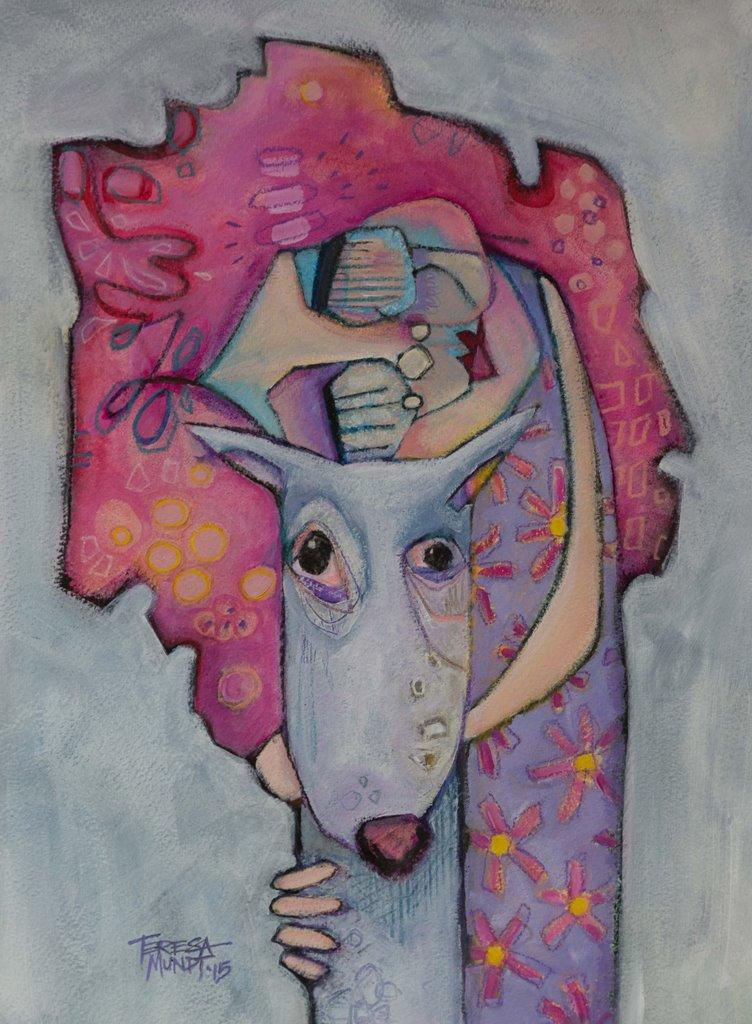 Huggy Muggy Buggy by Teresa Mundt_colourful_colorful_girl_dog_cartoon_art_painting