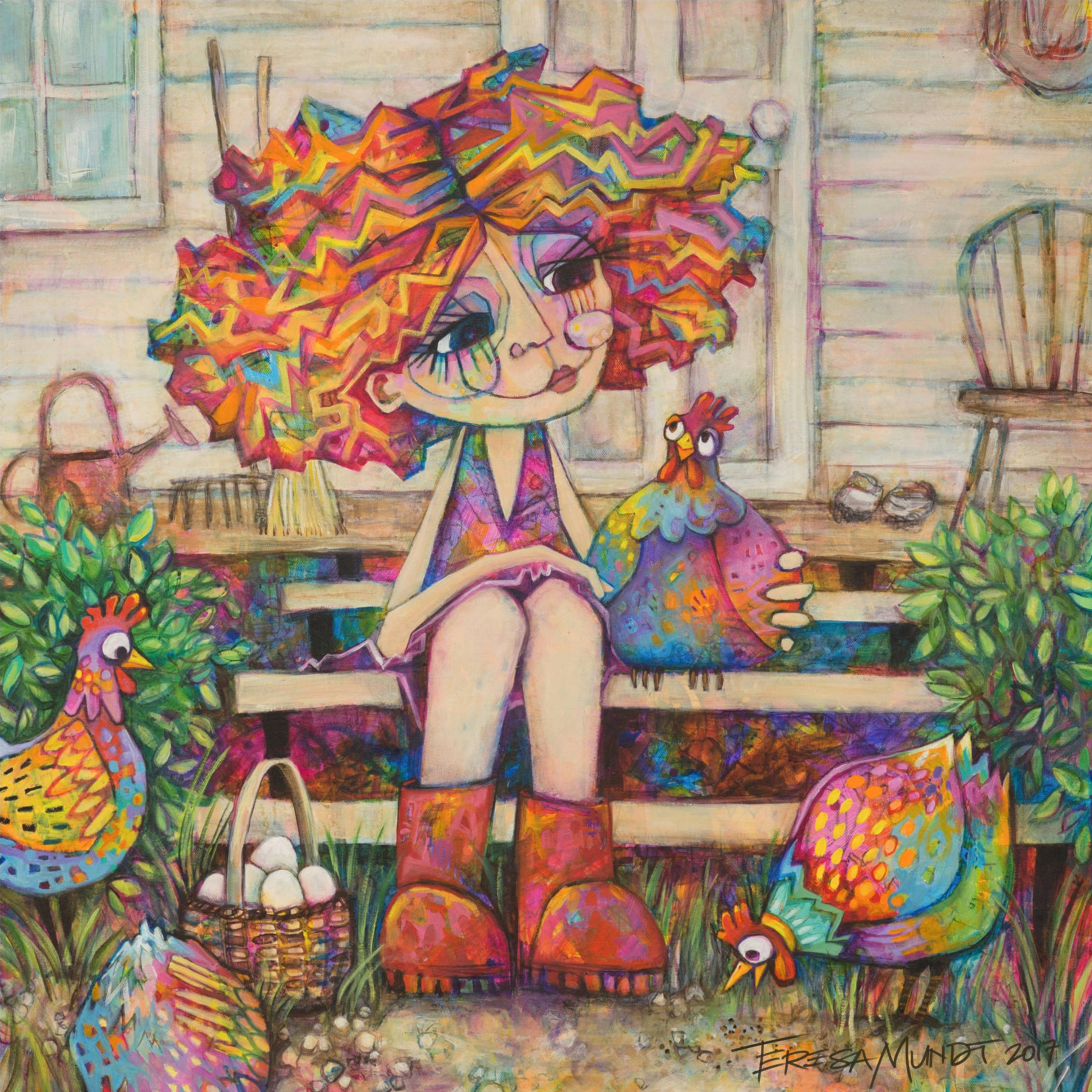 I Only Have Eggs For You By Teresa Mundt Colourful Colorful Girl Chooks Chickens Farmhouse Art Painting