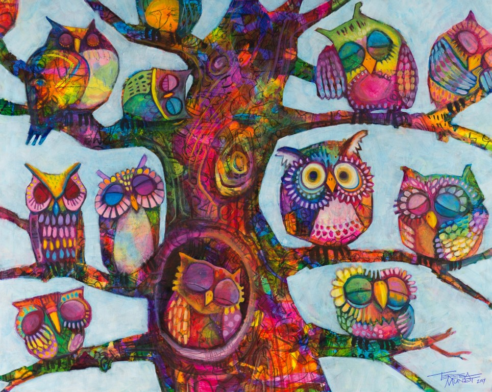 Insomnia by Teresa Mundt_colourful_colorful_cartoon_contemporary_owl_tree_art_painting