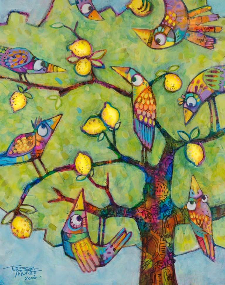 Lemon Lovers by Teresa Mundt_colourful_colorful_abstract_bird_tree_contemporary_cartoon_art_painting