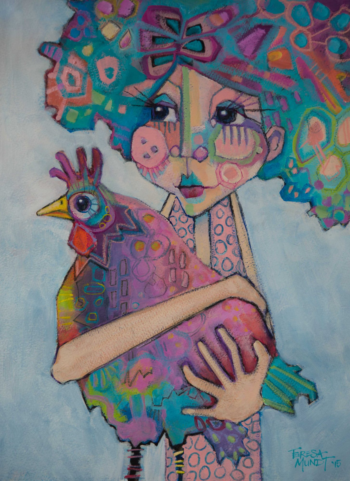 Miss Penny's Hen by Teresa Mundt_colourful_colorful_chook_chicken_hen_girl_contemporary_art_painting