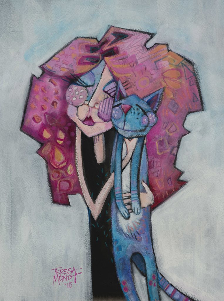 Pussycat Pussycat by Teresa Mundt_colourful_colorful_woman_lady_girl_cat_cartoon_contemporary_art_painting