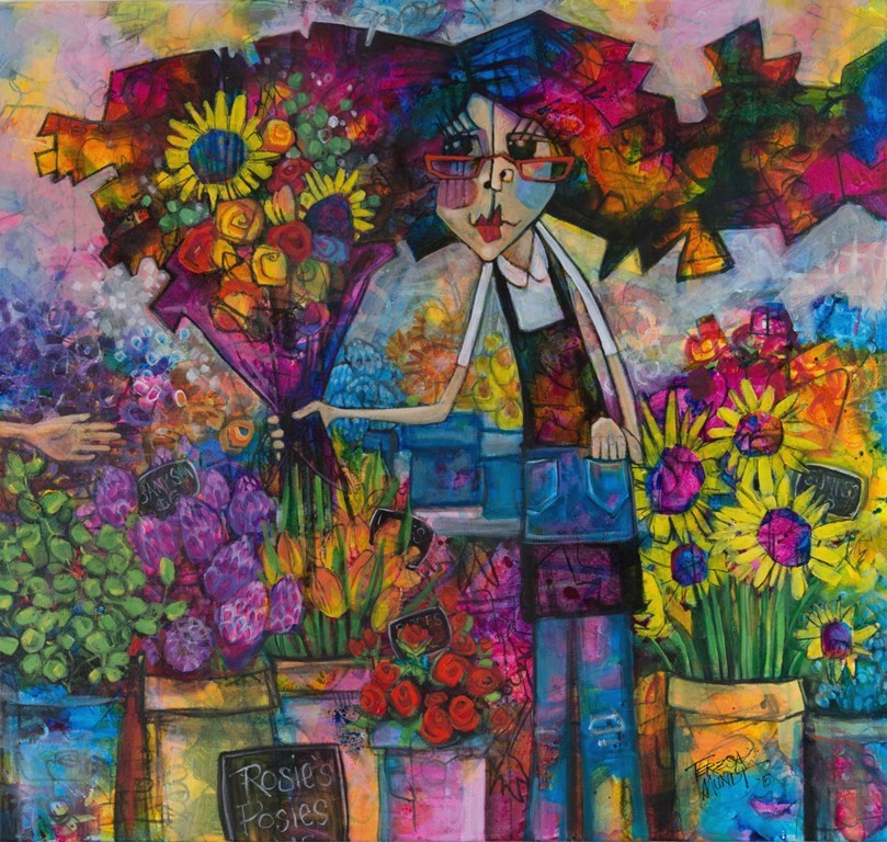 Rosie's Posies by Teresa Mundt_colourful_colorful_flower_floral_florist_market_garden_lady_cartoon_contemporary_art_painting