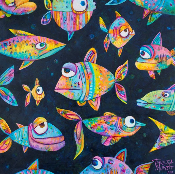 The Daily Grind by Teresa Mundt_colourful_colorful_cartoon_fish_art_acrylic_painting